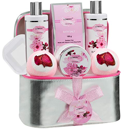 Valentine's Day Gifts – Bath and Body Gift Basket For Women – Cherry Blossom Home Spa Set with Fragrant Lotions, 2 Extra Large Bath Bombs, Mirror and Silver Reusable Travel Cosmetics Bag and More