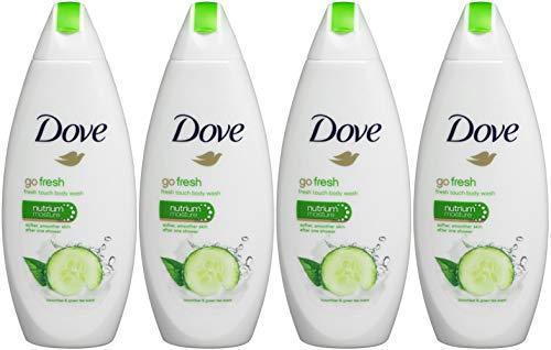 Dove Go Fresh Cool Moisture Fresh Touch Body Wash, Cucumber and Green Tea, 16.9 Oz / 500 Ml Pack of 4