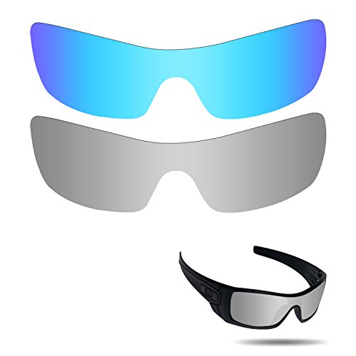 Fiskr Anti-Saltwater Polarized Replacement Lenses for Oakley Batwolf Sunglasses 2 Pieces Packed Ice Blue & Metallic Silver