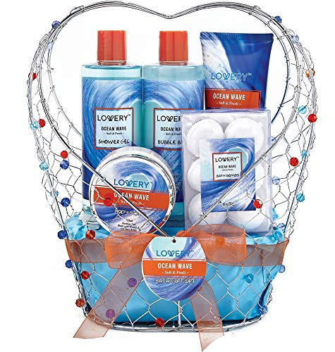 11 Piece Set Packaged in Jeweled Heart Shaped Candy Holder – Bath and Body Gift Basket For Women & Men – Ocean Wave Home Spa Set, Includes Fragrant Lotions, Bath Bombs and More – Valentine's Day Gifts