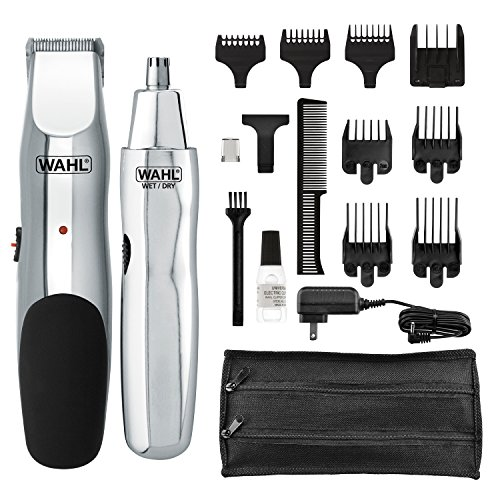 Wahl Groomsman rechargeable beard trimmer for beard, mustache, stubble with self sharpening blades and bonus nose trimmer # 05622
