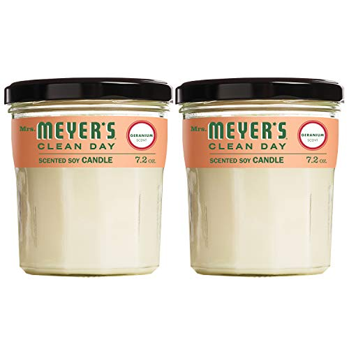 Mrs. Meyer's Clean Day Scented Soy Candle, Geranium, Large, 7.2 ounce Pack of 2