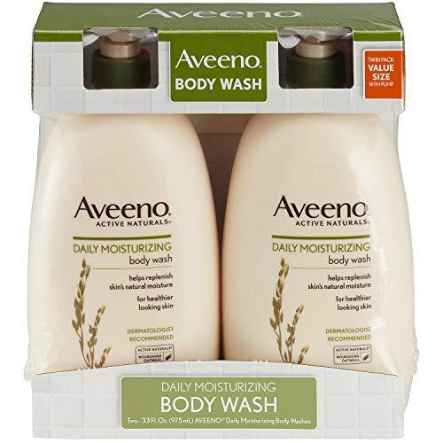 Net Wt. 33 FL OZ 975 mL Per Bottle – Daily Moisturizing – Aveeno Active Naturals Body Wash – Pack of 2 Bottles