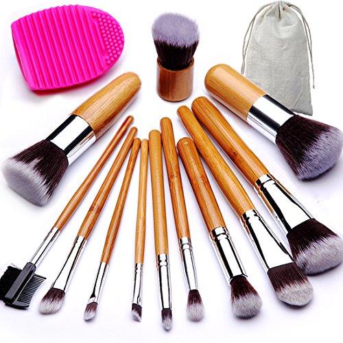 BEAKEY Makeup Brush Set, Bamboo Handle Premium Synthetic Kabuki Foundation Blending Blush Eyeshadow Concealer Powder Brush Kit, with 1 Brush Egg & 1 Cloth Bag 12+2 Pcs