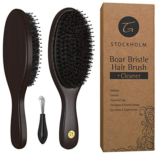 Boar Hairbrushes Recommended by Stylists – Hairbrush with Added Detangling Pins for Optimally Getting Natural Oils Throughout All Hairs & Stimulating Scalp – Boar Bristle Hair Brush for Men & Women