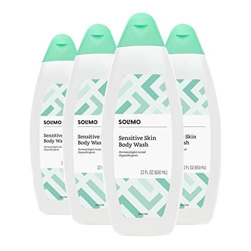 Solimo Body Wash for Sensitive Skin, 22 Fluid Ounce Pack of 4 – Amazon Brand