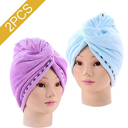CXAN 2PCS Absorbent Quickly Dry Hair Hat, Women's Soft Shower Microfiber Dry Hair Towels for Hair Turban WrapBlue+Purple