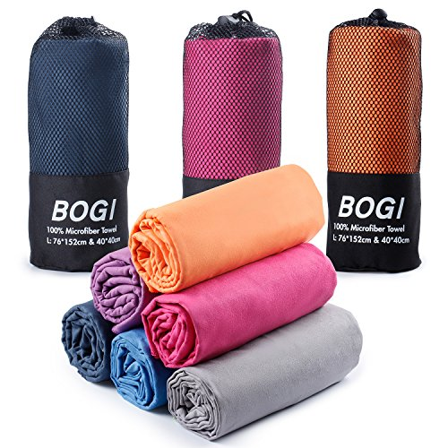 "BOGI Microfiber Travel Sports Towel-S:16""x32"",2Pcs-Antibacterial Dry Fast Soft Lightweight Absorbent&Ultra Compact-for Camping Gym Beach Bath Yoga Backpacking Fitness+Gift Bag&CarabinerS:Orange"