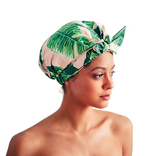 Luxury Shower Cap for Women- Most Comfortable Fit, Waterproof & Mold Resistant, Reusable Shower Caps by Kitsch Palm Leaves
