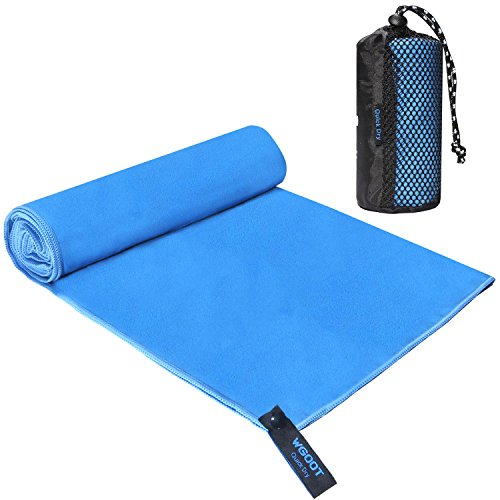 WGOOT Microfiber Quick Dry Towel,Sports Towel,Super Absorbent,Lightweight &Ultra Compact .Suitable for Fitness,Workout,Beach,Backpacking,Blue 40″x20″