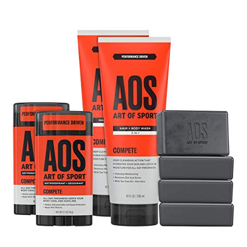 Art of Sport Athlete Collection, Compete Scent, 8pc Skin and Body Care Set with Antiperspirant Deodorant, Hair and Body Wash, and Body Bar Soap