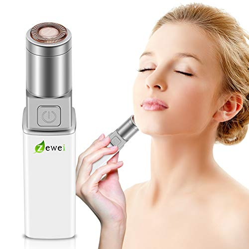 Facial Hair Removal for Women, Waterproof Painless Hair Remover Trimmer for Peach Fuzz, Chin Hair, Upper Lip Moustaches, Battery-Operated Lipstick Design White