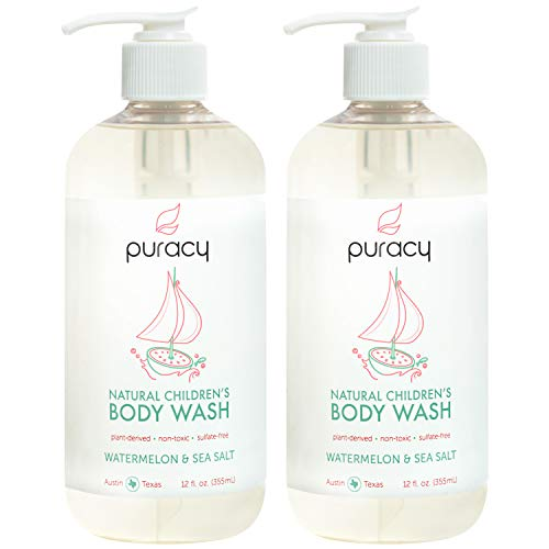 Puracy Natural Children's Body Wash 2-Pack, Tear-Free Kid's Soap, Sulfate-Free, Watermelon & Sea Salt, 12 Ounce