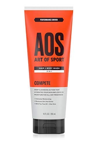 Art of Sport Hair and Body Wash 2-in-1 10 oz with Tea Tree Oil and Aloe Vera, Compete Scent, Dermatologist-Tested, Paraben-Free, Hypoallergenic, Moisturizing Shampoo and Shower Gel
