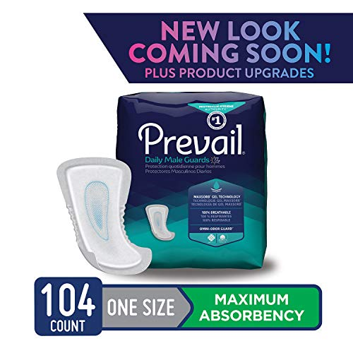 Prevail Maximum Absorbency Incontinence Male Guards One Size 104 Count Breathable Rapid Absorption Discreet Comfort Fit Adult Diapers
