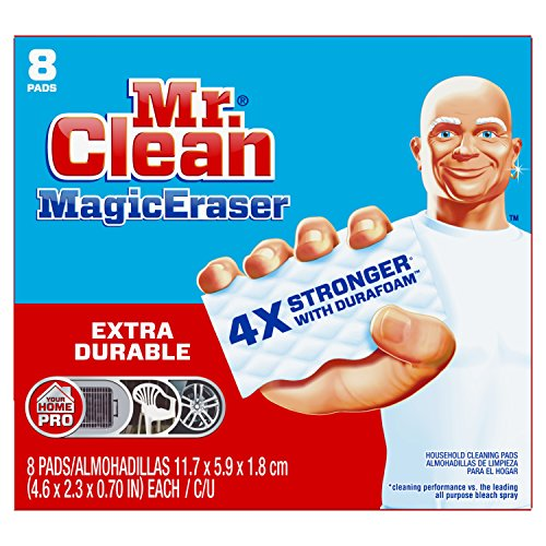Mr Clean Magic Eraser Extra Durable, Cleaning Pads with Durafoam, 8 Count Box Packaging May Vary