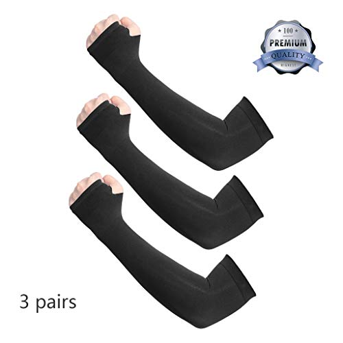 Deargles UV Protection Cooling Arm Sleeves for Men Sunblock Protective Gloves Women Cycling Sun Sleeves 3 Pairs Black