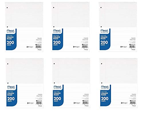 Mead Filler Paper, Loose Leaf Paper, College Ruled Paper, 200 Sheets/Pack, 11″ x 8-1/2″, White, 6 Pack, 1200 Sheets Total 17208