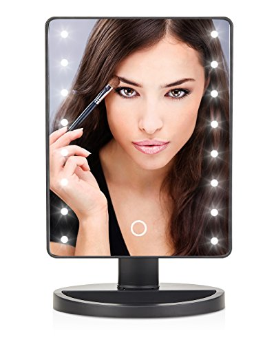 LED Lighted Makeup Mirror With 16 Led Lights Touch Screen Dimmable Brightness180 Rotation USB Battery Double Charge Countertop Cosmetics for Women Teen Girls Juniors