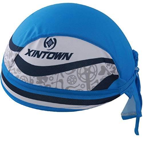 XINTOWN Professional Head Wrap Comfortable Quick-dry Cycling Cap Riding Hat Dew Rag Cooling Breathable Skull Cap – Blue with White