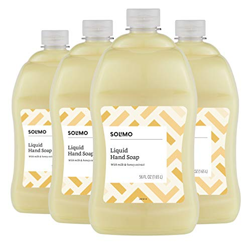 Solimo Liquid Hand Soap Refill, Milk and Honey, 56 Fluid Ounce Pack of 4 – Amazon Brand