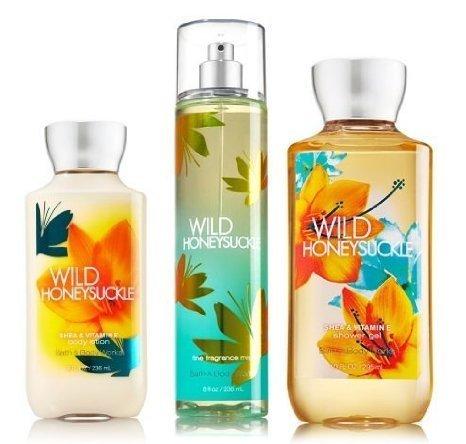 "Bath & Body Works Signature Collection "" Wild Honeysuckle "" Gift Set ~ Body Lotion ~ Shower Gel & Fragance Mist ~"
