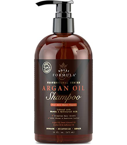 Volumizing Safe For Colored & Keratin Treated Hair – Argan Oil Shampoo with Biotin for Thinning Hair – Sulfate Free – Regrowth for Men and Women 16 Fl. Oz Shampoo – Royal Formula