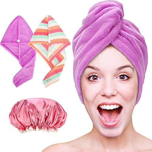 Hair Drying Towels Turban For Wet Hair, Absorbent Hair-Drying Towel Wrap For Women Girls Rainbow + Purple, 2 Pack + Shower Cap – Hair Towel Wrap, Microfiber Hair Towel, Quick Dry Hair Wrap Towels