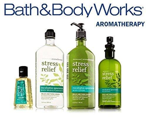 Bath & Body Works Aromatherapy Eucalyptus & Spearmint Body Lotion 6.5 oz, Body Wash Foam Bath 10 oz, Pillow Mist 5.3 oz & Anti-Bacterial Hand Gel 1 oz, Bath & Body Set, Packaging May Vary
