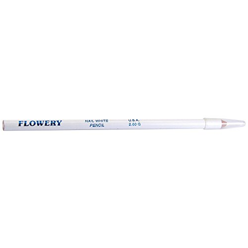 Flowery Nail White Pencil with Cuticle Pusher Cap – 7″ Long