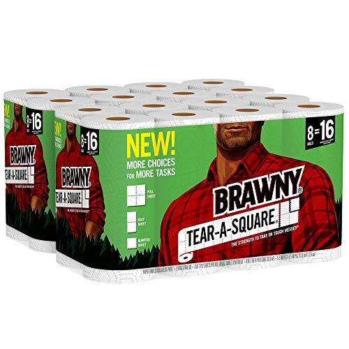 Brawny Tear-A-Square Paper Towels, 16 Rolls, 16 = 32 Regular Rolls, 3 Sheet Size Options, Quarter Size Sheets