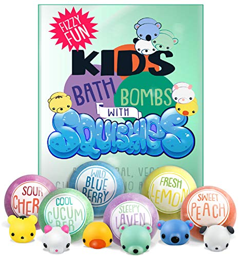 Kids Bath Bombs with Surprise SQUISHY Toys inside, Gender Neutral for Boys & Girls, In Gift Box, Perfect for Easter, All Natural, Handmade with Essential Oils- 6 XL Bath Fizzies