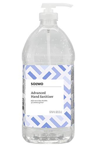 Solimo Advanced Hand Sanitizer with Vitamin E, Original Scent, Pump Bottle, 2 Liters 67.59 Fluid Ounces – Amazon Brand