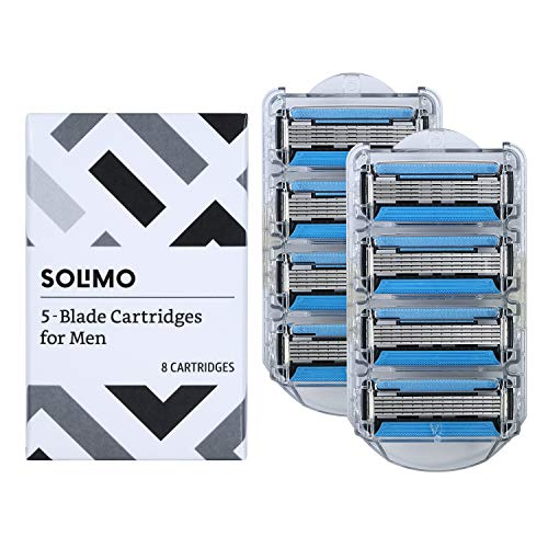 Solimo 5-Blade Razor Refills for Men with Dual Lubrication and Precision Beard Trimmer, 8 Cartridges Fits Solimo Razor Handles only