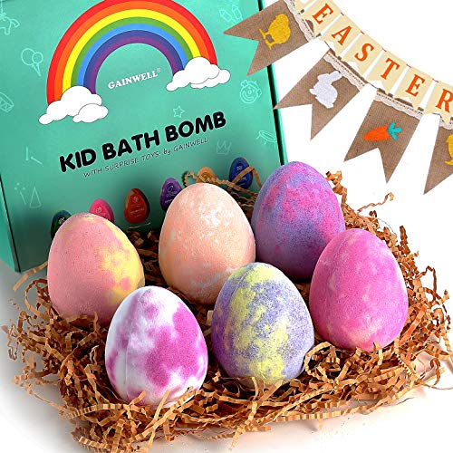 GAINWELL Easter Hatchimal KIDS Bath Bomb Gift Set –XL SIZE(6 x 5 Oz – Handmade Essential Oil Spa Galaxy Bomb Fizzies with Hand Painted Wooden Toys– for Relaxation, Moisturizing and Fun for All Ages