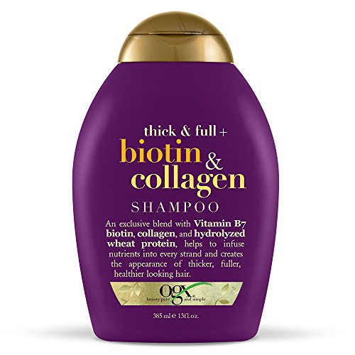 OGX Shampoo with Thick and Full Biotin and Collagen, 1 13 Fluid Ounce Bottle, Paraben Free, Sulfate Free, Sustainable Ingredients, Nourishing and Strengthening