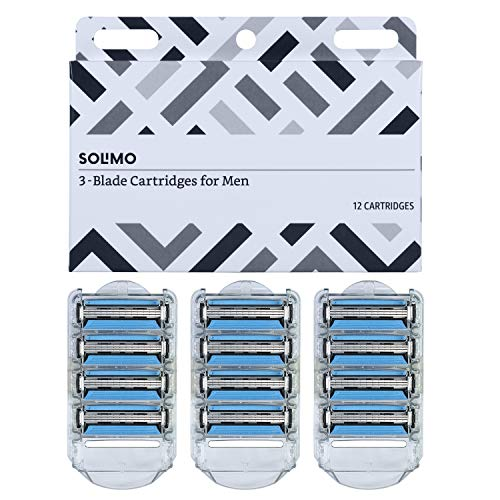 Solimo 3-Blade Razor Refills for Men with Dual Lubrication, 12 Cartridges Fits Solimo Razor Handles only