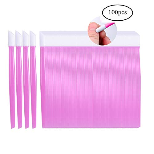 Siusio 100 Pcs Plastic Nail Art Tool Handle Tipped Rubber Cuticle Pusher and Nail Cleaner – Pink