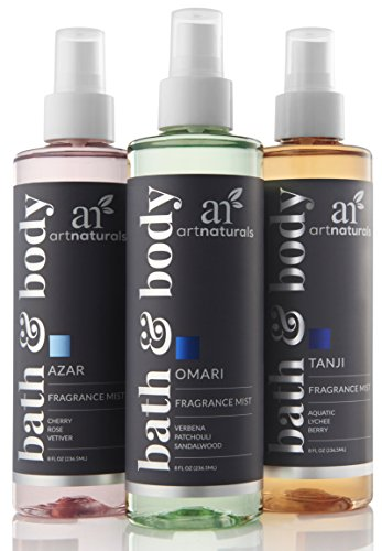 ArtNaturals Fragrance Mists and Air Freshener – 3 x 8 Fl Oz / 236ml – Gift Set – for Bath, Body, Home & Work – Signature Scents of Azar, Tanji and Omari – Natural and Moisturizing