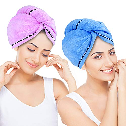 Essentials Hair Towel Wrap Turban Microfiber Drying Towels, 2 Pack Super Absorbent Anti-Frizz Bath Shower Head Towel with Buttons,Quick Dry Hats Blue & Purple