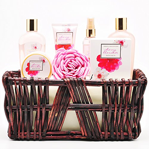 Green Canyon Spa Gift Baskets for Women, Cherry Blossom Essential Oil – 8 Pcs Bath and Body Spa Holiday Gifts Sets Shower Gel Bubble Bath Bath Salts Body Mist Body Lotion