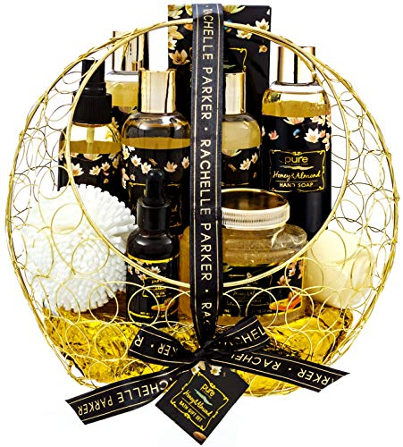 Bath Gift Basket for Women! Spa Gift Basket for Relaxing at Home Spa Kit. PURE Bath Sets for Women are the #1 Choice in Spa Baskets and Womens Gift Baskets Honey Almond Spa Set