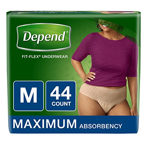 Depend FIT-FLEX Incontinence Underwear for Women, Maximum Absorbency, M, Tan, 44Count Packaging may vary