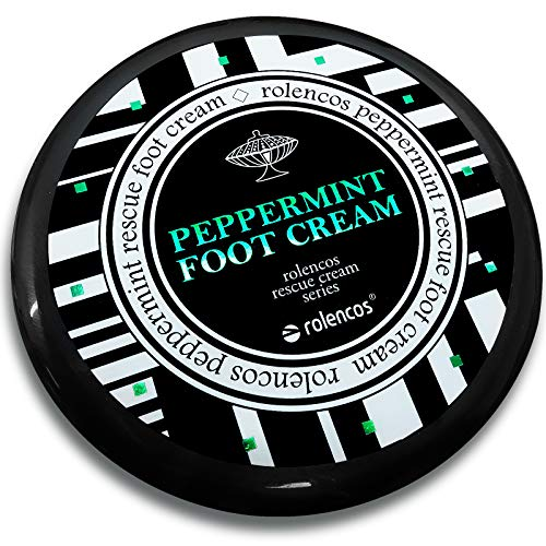 Rolencos Peppermint Cooling Foot Cream 4.20oz, Moisturizing, Callus Remover, Thick, Cracked, Rough, Dead and Dry, Hard Feet, Heels, Soles, Professional Foot Care Rescue Cream Peppermint Foot Cream