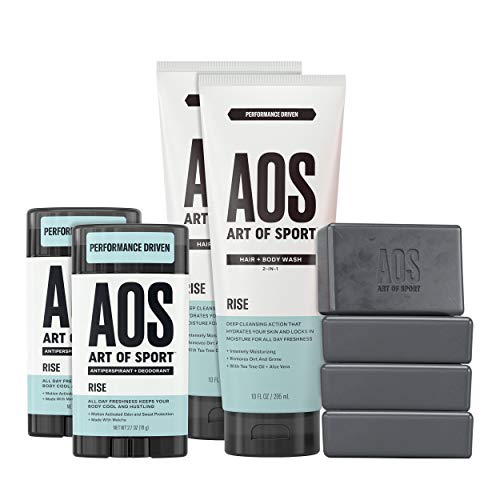 Art of Sport Athlete Collection, Rise Scent, 8pc Skin and Body Care Set with Antiperspirant Deodorant, Hair and Body Wash, and Body Bar Soap