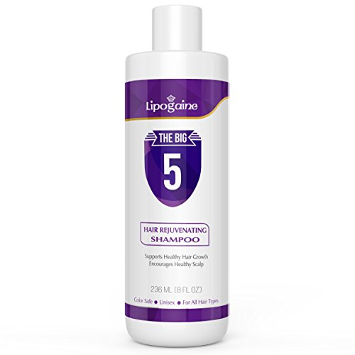 Lipogaine Hair Stimulating Shampoo for Hair Thinning & Breakage, for All Hair Types, Men and Women, Infused With Biotin, Caffeine, Argan Oil, Castor oil and Saw Palmetto Purple