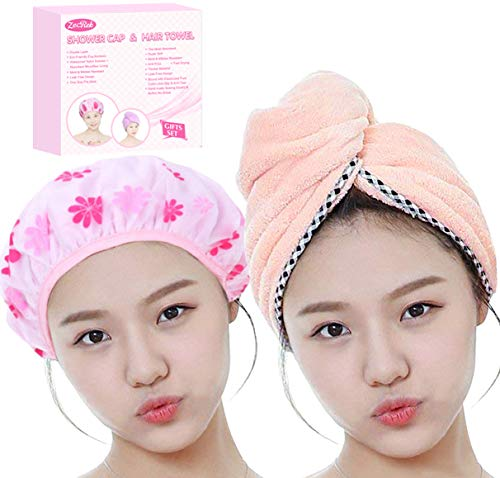 Valentines Day Gifts for Women Mom Wife Her Girls Set of Most Absorbent Hair Towel & Double Layer Shower Cap w/Premium Gift box By Zecrek