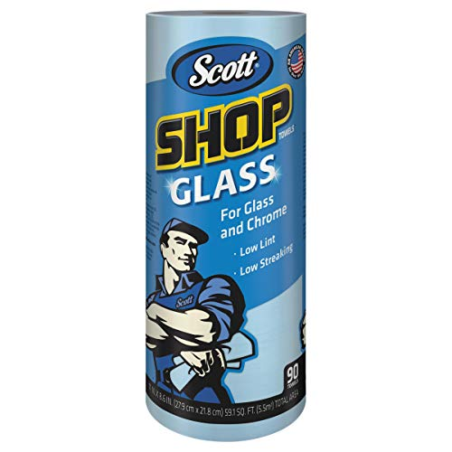 Scott 32896 Shop Towels, Glass, 1-Ply, 8.6″ x 11″, Blue, 90 Sheets per Roll Case of 12 Rolls
