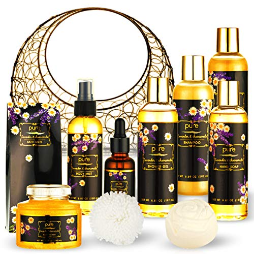 Lavender Chamomile Natural Spa Gift Basket, Lavender Fragrance Luxurious Bath and Body Gift Set 8 Piece at home Spa Kit. Best Relaxing Gift Basket for Girl Friend/Wife Teacher Appreciation Gift Basket
