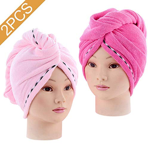 2PCS Absorbent Quickly Dry Hair Hat, Women's Soft Shower Microfiber Dry Hair Towels for Hair Turban WrapRose Red+Pink